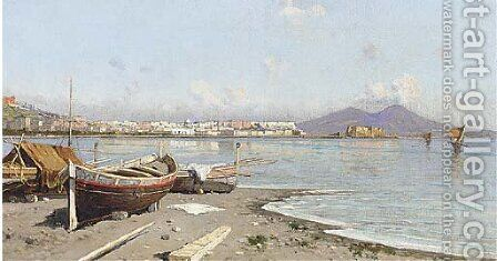 Fishing boats at the Bay of Naples by Giuseppe Carelli - Reproduction Oil Painting