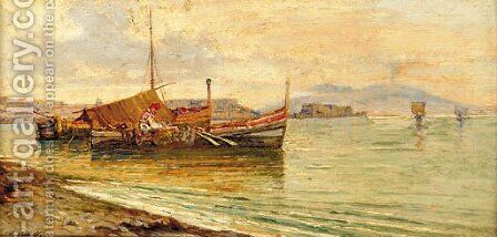 Fishing boats in the Bay of Naples by Giuseppe Carelli - Reproduction Oil Painting