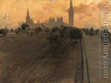 Westminster Bridge II by Giuseppe de Nittis - Reproduction Oil Painting