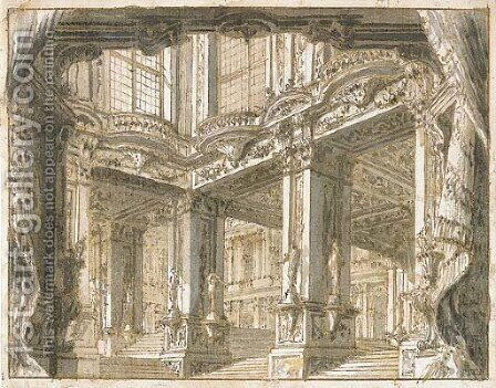 The courtyard of a palace, for a theatrical set by Giuseppe Galli Bibiena - Reproduction Oil Painting