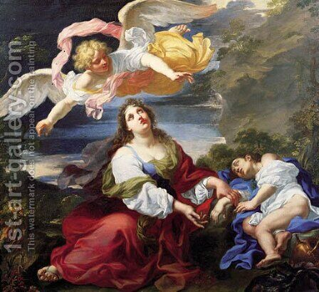 The Angel Appearing to Hagar and Ishmael in the Desert by Giuseppe Ghezzi - Reproduction Oil Painting