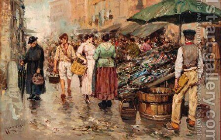 A busy Market by Giuseppe Giardello - Reproduction Oil Painting