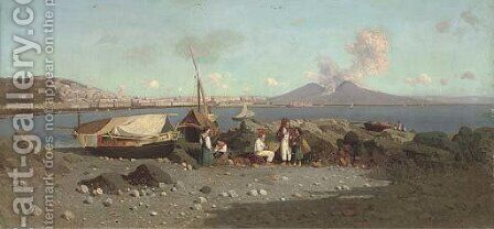Fisherfolk at the Bay of Naples by Giuseppe Laezza - Reproduction Oil Painting