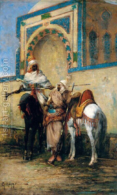 Arab horsemen resting outside a mosque by Giuseppe Raggio - Reproduction Oil Painting