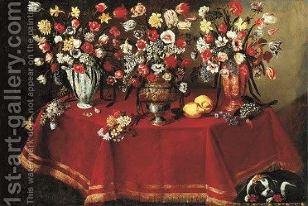 Arrangements of flower bouquets in a majolica vase, a sculpted pewter and bronze urn and a ceramic ewer on a draped octagonal table by Giuseppe Recco - Reproduction Oil Painting