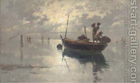 Fishermen on the Venetian Lagoon, dusk by Giuseppe Vizzotto Alberti - Reproduction Oil Painting
