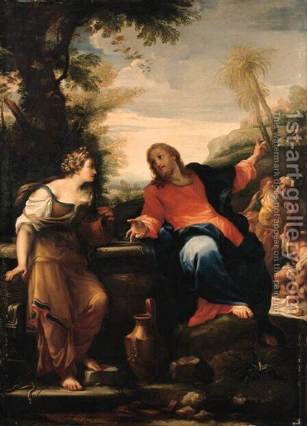 Christ and the Woman of Samaria by Giuseppe Chiari - Reproduction Oil Painting