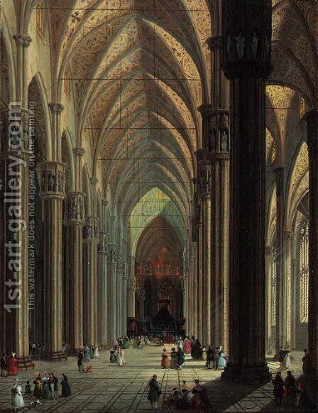 The nave of the Duomo, Milan, looking east by Giuseppe Bernardino Bison - Reproduction Oil Painting