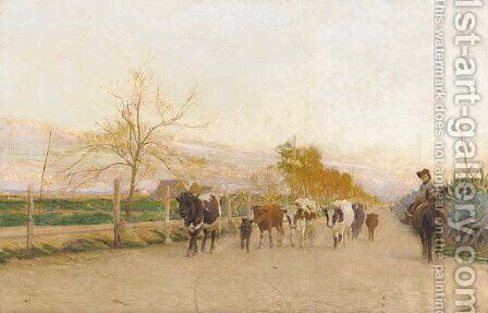 Return from pasture by Gonzalo Bilbao Martinez - Reproduction Oil Painting