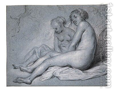 Study of two female seated Nudes by Govert Teunisz. Flinck - Reproduction Oil Painting