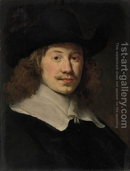 Portrait of a gentleman, bust-length, in black costume with a lace collar by Govert Teunisz. Flinck - Reproduction Oil Painting