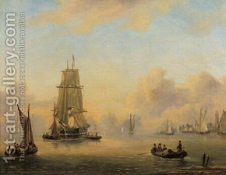 A two-master in a calm, a harbour beyond by Govert Van Emmerik - Reproduction Oil Painting