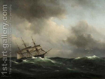 In a stiff breeze by Govert Van Emmerik - Reproduction Oil Painting