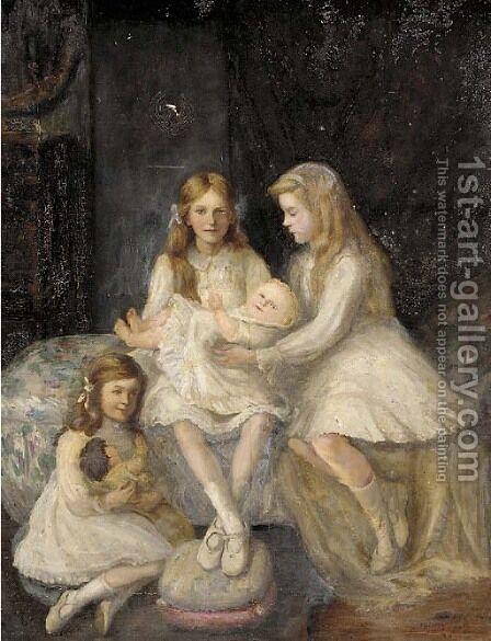 A group portrait of the Cokayne children by Grace Margaret Cokayne - Reproduction Oil Painting