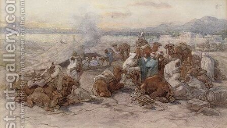 An Arab encampment 2 by Guido Bach - Reproduction Oil Painting