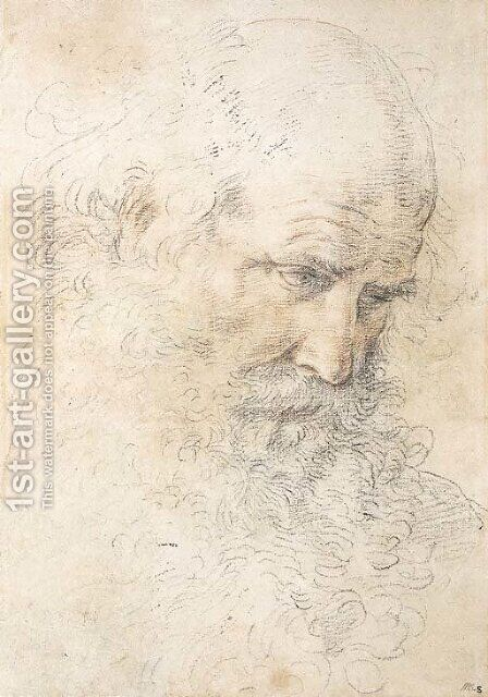 The head of a bearded man looking down by Guido Reni - Reproduction Oil Painting
