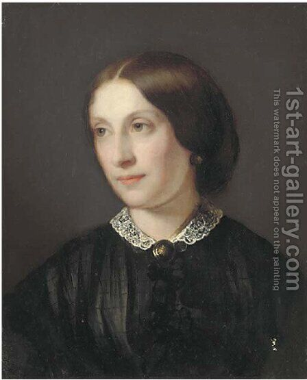 Portrait of a lady, bust-length in a black dress with white lace collar by Guido Schmitt - Reproduction Oil Painting