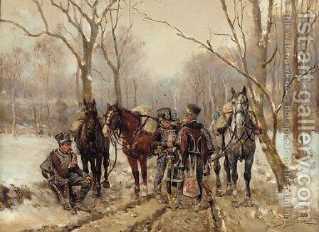 French hussars in a winter landscape by Guido Sigriste - Reproduction Oil Painting