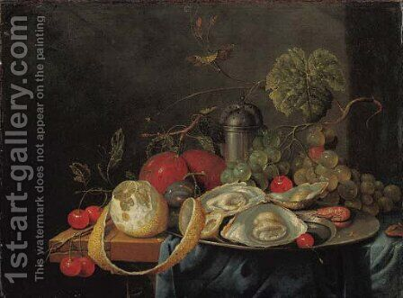 Oysters and a prawn on a pewter plate, a partly peeled lemon, plums, grapes and cherries on a partly draped table by Guilliam van Deynum - Reproduction Oil Painting