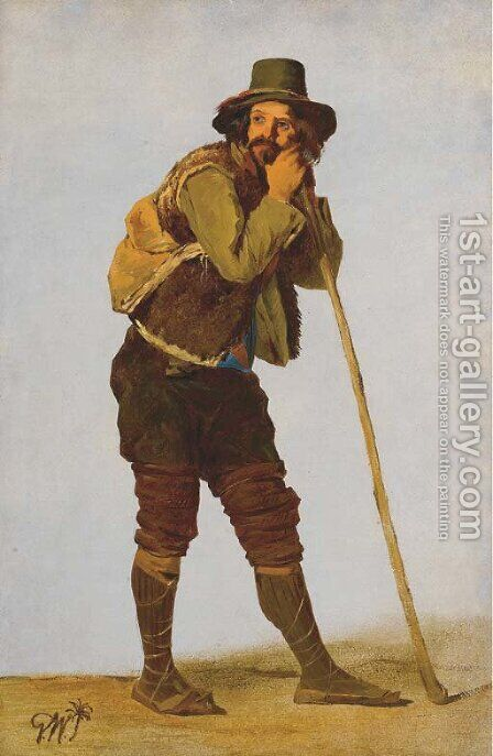 A Roman shepherd leaning on his staff by Gustaf-Wilhelm Palm - Reproduction Oil Painting