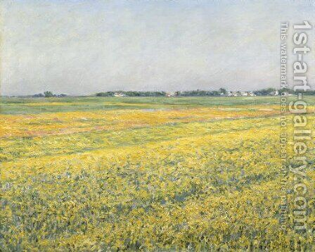 La plaine de Gennevilliers, champs jaunes by Gustave Caillebotte - Reproduction Oil Painting