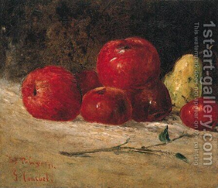 Nature morte, pommes et poires by Gustave Courbet - Reproduction Oil Painting