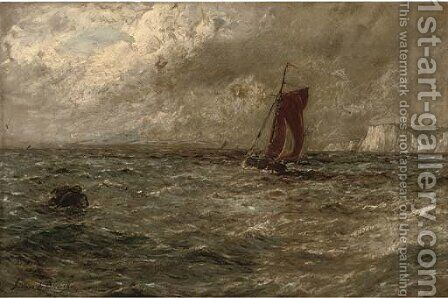 A fishing boat off a coastline, in a stormy sea by Gustave de Breanski - Reproduction Oil Painting