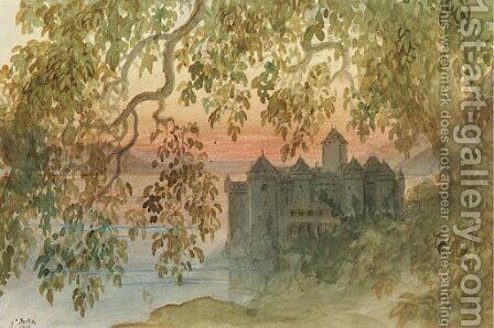 Vue du chateau de Chillon by Gustave Dore - Reproduction Oil Painting