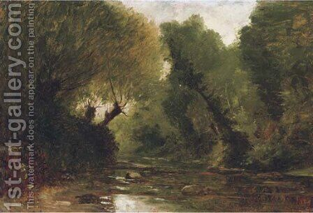 A forest stream - a study by Gustave Castan - Reproduction Oil Painting