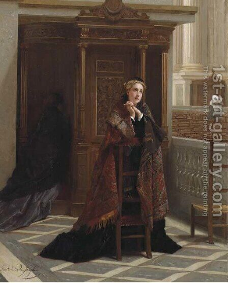 Deep devotion by Gustave Leonhard de Jonghe - Reproduction Oil Painting