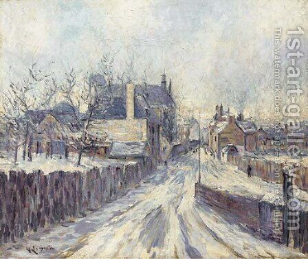 L'entree du village de Mortain sous le neige by Gustave Loiseau - Reproduction Oil Painting