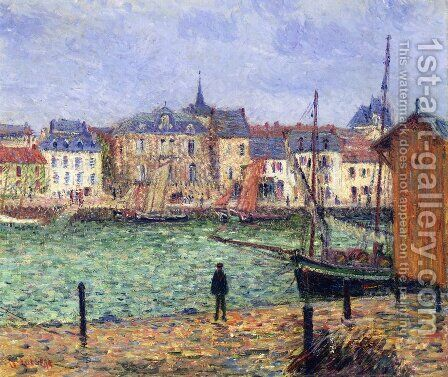 Le port de Pornic, maree haute by Gustave Loiseau - Reproduction Oil Painting