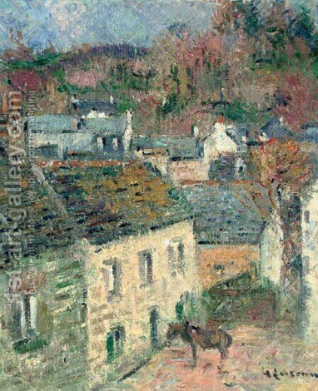 Maisons a Pont-Aven (Finistere) by Gustave Loiseau - Reproduction Oil Painting