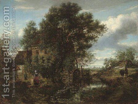 Collecting water at the mill by Gustave Pieron - Reproduction Oil Painting