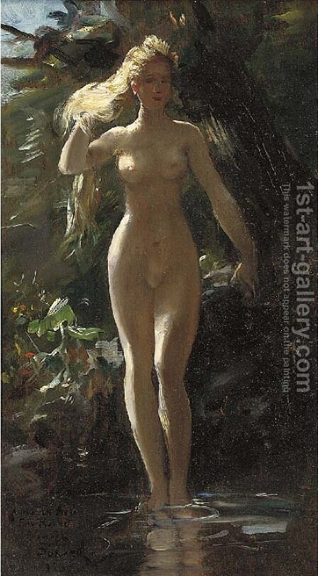 A nymph in a woodland pool by Gustave Surand - Reproduction Oil Painting