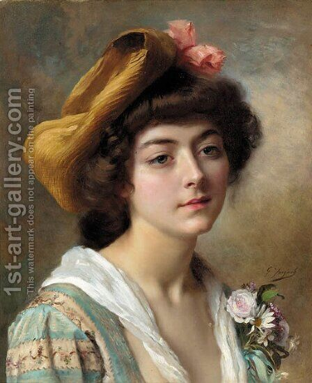 Tete de fautaine by Gustave Jean Jacquet - Reproduction Oil Painting