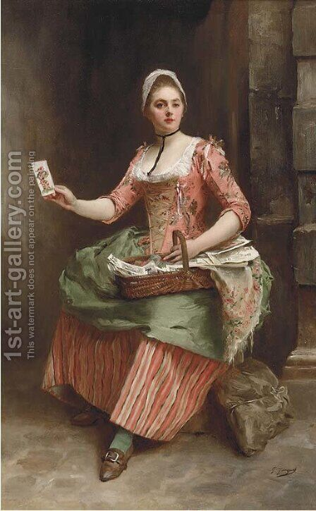 The card seller by Gustave Jean Jacquet - Reproduction Oil Painting
