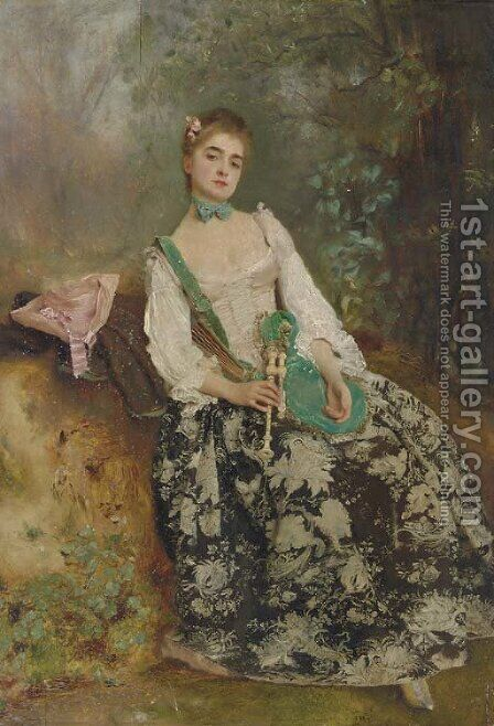 The Elegant Piper by Gustave Jean Jacquet - Reproduction Oil Painting