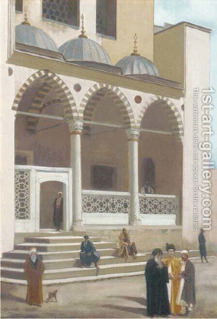 Arabs outside the Suleyman Mosque, Istanbul by Gustave-Paul Cluseret - Reproduction Oil Painting