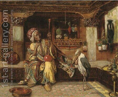 Oriental smoker with hookah and marabou by Gyula Tornai - Reproduction Oil Painting