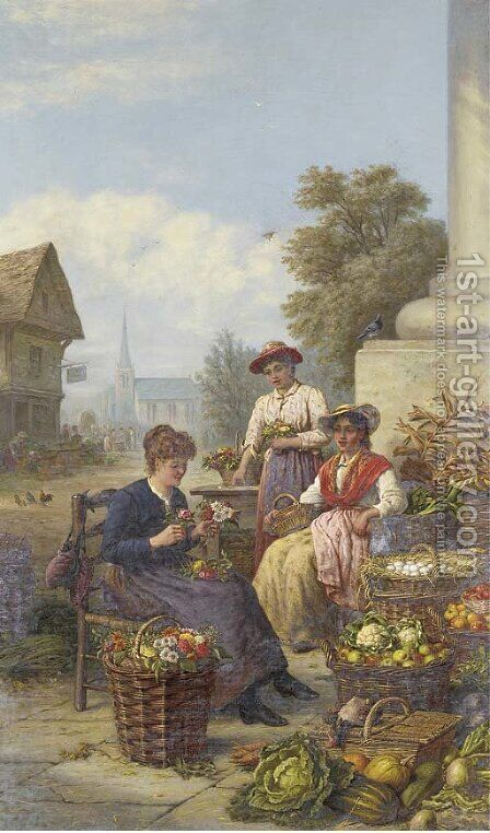 The flower and vegetable market by Henry Charles Bryant - Reproduction Oil Painting