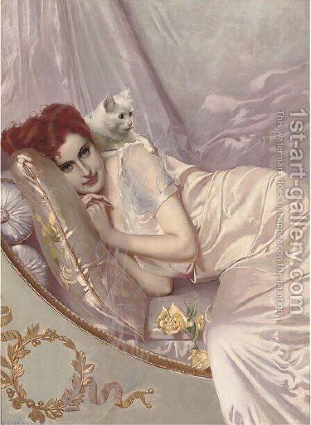 A young beauty reclining with a cat by H. Guerault - Reproduction Oil Painting
