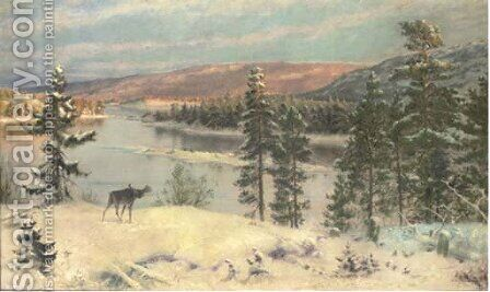 An elk in a winter landscape by H. Knut Ekwall - Reproduction Oil Painting