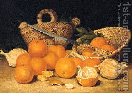 Les Oranges by Hippolyte Lecomte - Reproduction Oil Painting