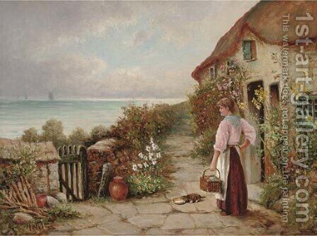 The seaside cottage by Henry Walton - Reproduction Oil Painting