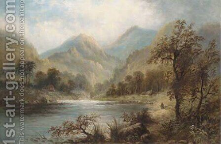 A Highland landscape by Hugh William Williams - Reproduction Oil Painting
