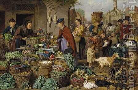 Market Day 2 by Henry Charles Bryant - Reproduction Oil Painting