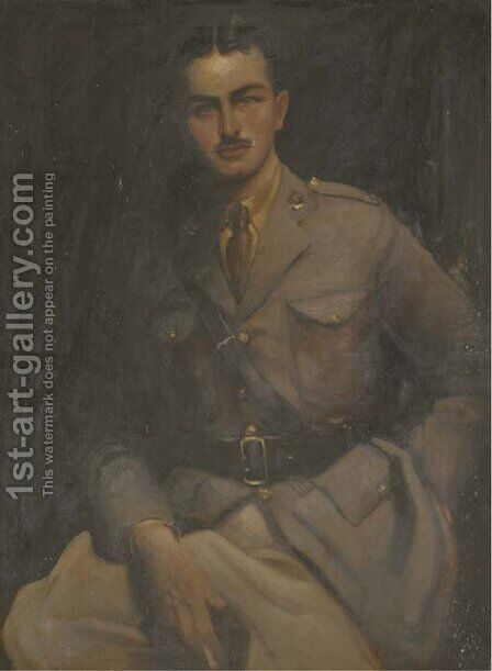 Portrait of Charles Chetwynd, seated three-quarter-length, in Officer's uniform by Hal Hurst - Reproduction Oil Painting