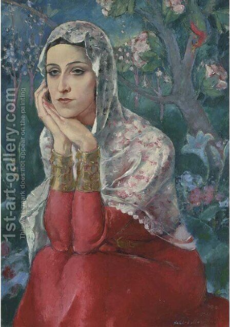 A Turkish beauty in a garden by Halil Bey Mussaijassul - Reproduction Oil Painting