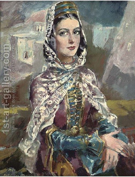 Tcherkesse woman by Halil Bey Mussaijassul - Reproduction Oil Painting
